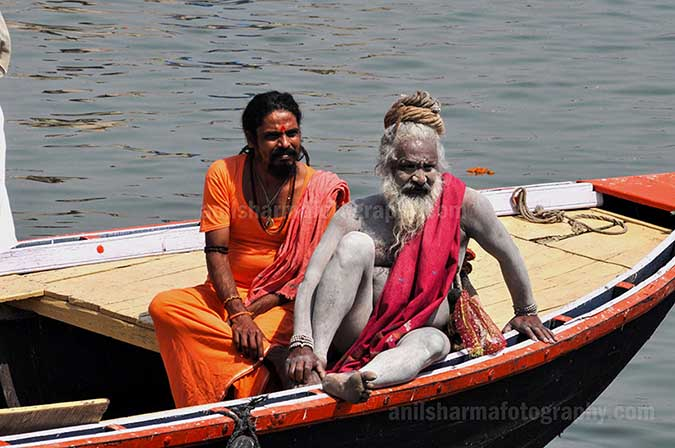 Culture- Naga Sadhu\u2019s (India) - Two Naga Sadhu's on the boat in Varanasi by Anil Sharma Photography