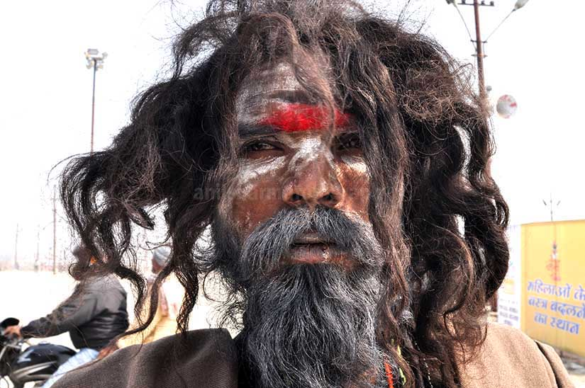 Culture- Aghori Sadhu\'s (India) - Close-up of a Aghori Sadhu with long hairs, wearing rudraksha bead at Mahakumbh, Allahabad, Uttar Pradesh, India. by Anil Sharma Photography