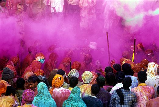 Festivals- Lathmaar Holi of Barsana (India) - Lathmaar Holi is a local celebration of Hindu festival of colors Holi.  According to Hindu Mythology Lord Krishna visited his beloved Radha's village Barsana on this day to play Holi.